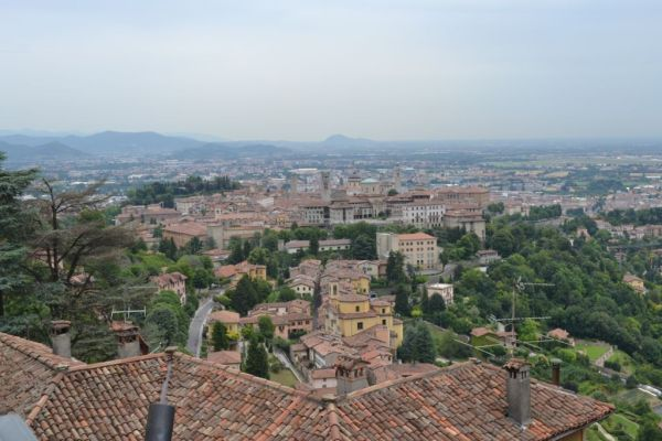 View of Bergamo old city from Castello